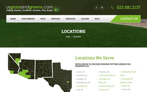 Screenshot of Locations Page usgrassandgreens.com - Synthetic Grass Locations Served | US Grass and Greens - captured July 20, 2016