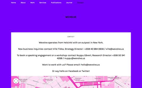 Screenshot of Contact Page wevolve.us - Contact : Wevolve - captured Oct. 26, 2014