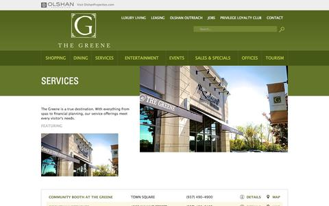 Screenshot of Services Page thegreene.com - The Greene Town Center > SERVICES - captured Sept. 26, 2014