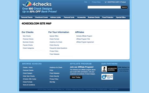 Screenshot of Site Map Page 4checks.com - 4checks - Personal Checks, Address Labels, Personal Cards, Checkbook Covers and Check Accessories - captured Dec. 23, 2016