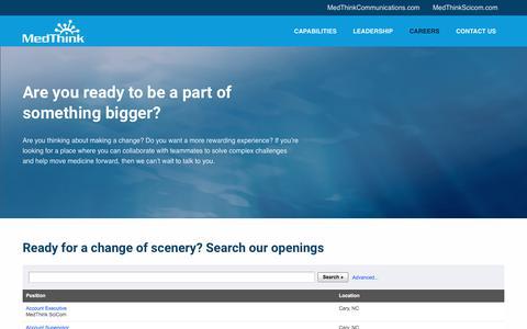 Screenshot of Jobs Page medthink.com - Careers | MedThink Inc. - captured Sept. 6, 2019