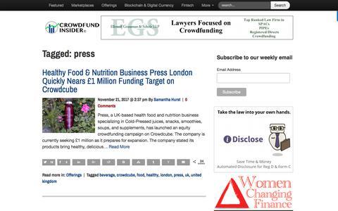 Screenshot of Press Page crowdfundinsider.com - press Archives   Crowdfund Insider - captured Nov. 22, 2017