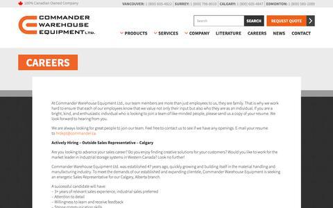 Screenshot of Jobs Page commander.ca - Company Careers | Commander Warehouse Equipment - captured Sept. 29, 2018
