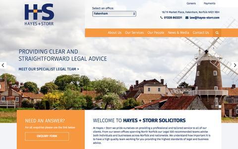 Screenshot of Home Page hayesandstorr.co.uk - Hayes + Storr | North and West Norfolk Solictor - captured Nov. 1, 2016
