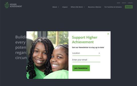 Screenshot of Home Page higherachievement.org - Home - Higher Achievement - captured June 13, 2019