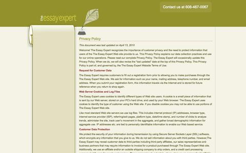 Screenshot of Privacy Page theessayexpert.com - The EssayExpert.com Privacy Policy | The Essay Expert - captured Oct. 10, 2014