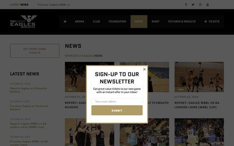 Screenshot of Press Page newcastle-eagles.com - News – Newcastle Eagles - captured Oct. 21, 2018