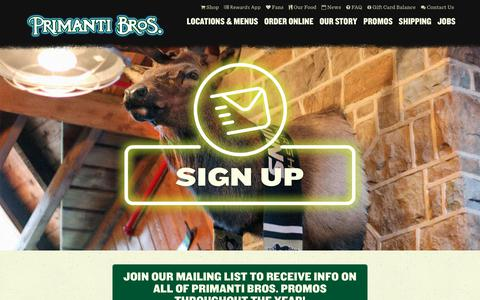 Screenshot of Signup Page primantibros.com - Sign Up | Primanti Brothers - captured Dec. 12, 2018