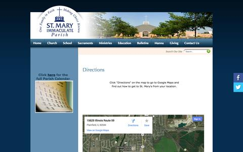 Screenshot of Maps & Directions Page smip.org - St Mary Immaculate Parish: Directions - captured Oct. 6, 2014