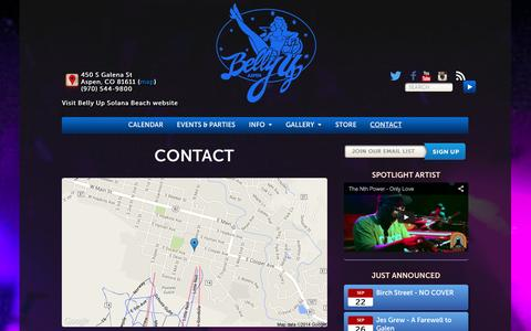 Screenshot of Contact Page bellyupaspen.com - Contact Us | (970) 544-9800 - Belly Up Aspen - captured Sept. 19, 2014