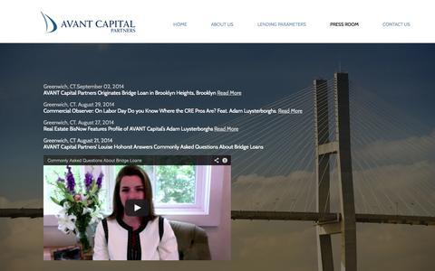 Screenshot of Press Page avant-capital.com - Press Room – Avant Capital news and information - captured Oct. 4, 2014