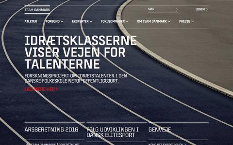 Screenshot of Home Page teamdanmark.dk - Team Danmark - Forside - captured June 18, 2017