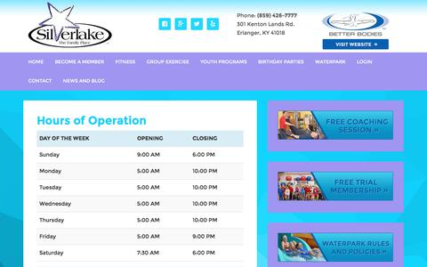 Screenshot of Hours Page silverlakefamily.com - Hours of Operation - captured Dec. 19, 2016
