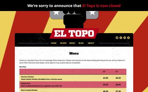 Screenshot of Menu Page el-topo.co.uk - Menu | El Topo - captured Sept. 29, 2014