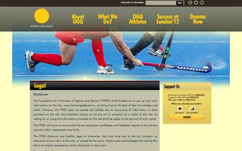 Screenshot of Terms Page olympicgoldquest.in - Legal | Olympic Gold Quest - captured Oct. 7, 2014