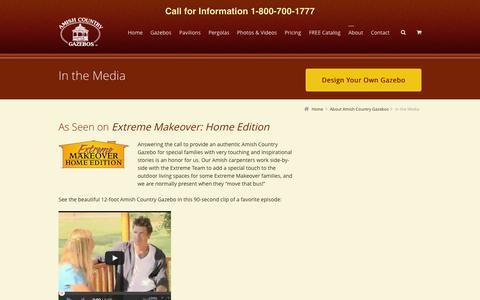 Screenshot of Press Page amishgazebos.com - Gazebo Reviews | Extreme Home Makeover | Amish Country Gazebos - captured Sept. 19, 2014