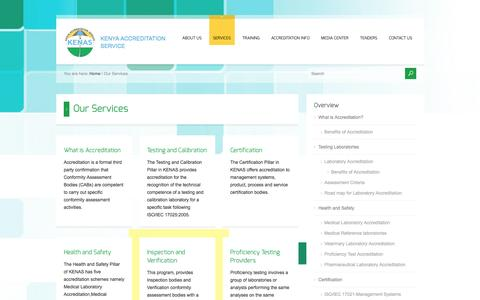 Screenshot of Services Page kenas.go.ke - Our Services - captured Oct. 6, 2014