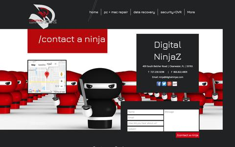 Screenshot of Contact Page digitalninjaz.com - Contact Digital NinjaZ - captured Oct. 9, 2018