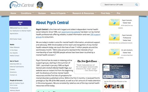Screenshot of About Page psychcentral.com - About Psych Central - captured Dec. 13, 2015