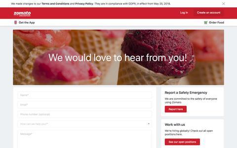 Screenshot of Contact Page zomato.com - Contact Us | Zomato - captured Aug. 21, 2019