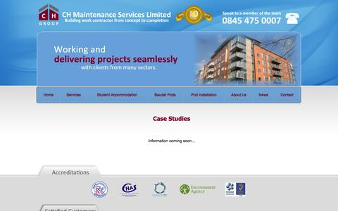 Screenshot of Case Studies Page ch-ms.co.uk - CH Maintenance Services Limited - building contractors North West - captured Oct. 8, 2014