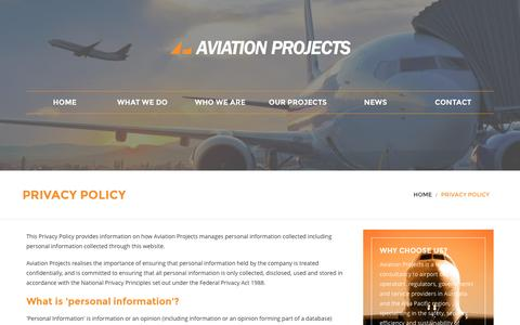 Screenshot of Privacy Page aviationprojects.com.au - Privacy Policy | Aviation projects - captured Nov. 21, 2016