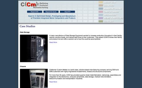 Screenshot of Case Studies Page ccm.com - Metal Fabrication   Tool Die Design   Prototyping   Precision Machining   CCM Case Studies - captured Oct. 3, 2014