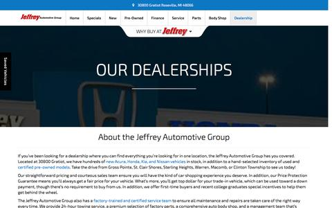 Screenshot of About Page jeffreyauto.com - New and Used Car Dealers | Jeffrey Automotive Group - captured Nov. 26, 2016