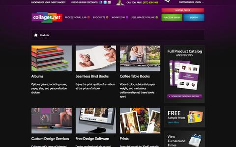 Screenshot of Products Page collages.net - Albums, Coffee Table Books, Design Services, Free Design Software, Professional Lab, Gallery Wraps, Cards, Proof Books - captured Sept. 19, 2014