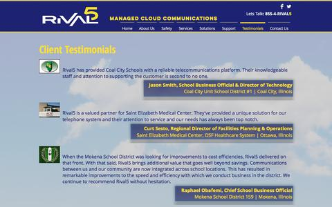 Screenshot of Testimonials Page rival5.com - Rival5 Technologies Corporation | Testimonials - captured Dec. 2, 2016