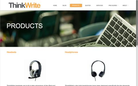 Screenshot of Products Page ithinkwrite.com - PRODUCTS - ThinkWriteThinkWrite - captured Feb. 16, 2016