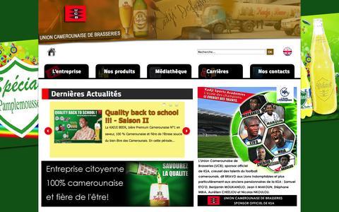 Screenshot of Home Page sa-ucb.com - UNION CAMEROUNAISE DE BRASSERIES - captured Oct. 6, 2014