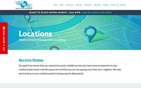 Screenshot of Locations Page medwastemgmt.net - Locations   Medical Waste Management Waste Disposal - captured July 10, 2018