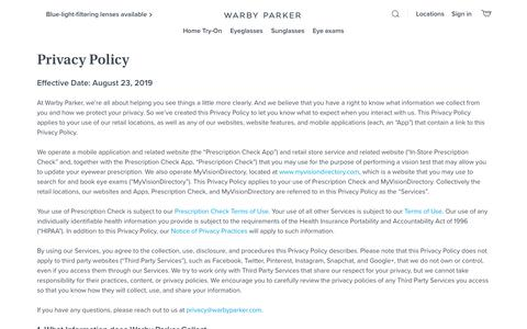 Screenshot of Privacy Page warbyparker.com - Privacy Policy | Warby Parker - captured Oct. 30, 2019