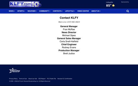 Screenshot of Team Page klfy.com - General contact - captured Sept. 23, 2018