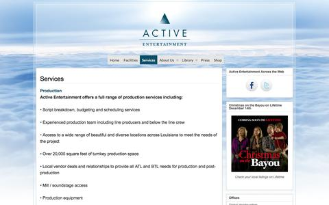 Screenshot of Services Page activeentertainment.com - Services » Active Entertainment - captured Oct. 6, 2014