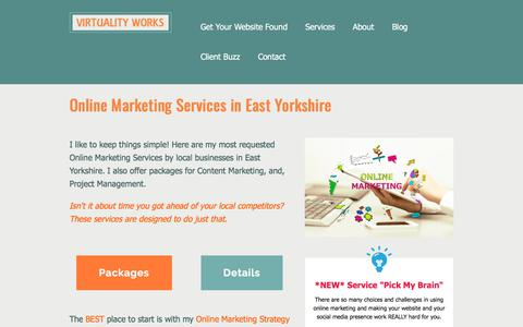 Screenshot of Services Page virtualityworks.com - Services | Online Marketing Consultant based in East Yorkshire - captured Sept. 21, 2018