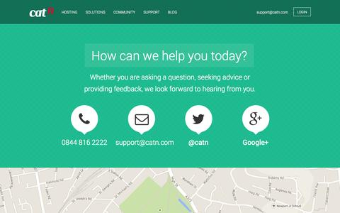 Screenshot of Contact Page catn.com - Contact Us | Our expert support team awaits your instruction - captured Sept. 19, 2014