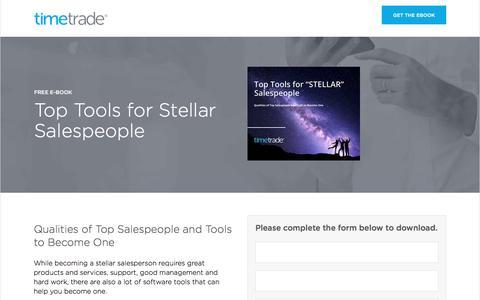 Screenshot of Landing Page timetrade.com - eBook Top Tools for Stellar Salespeople - captured Jan. 14, 2017