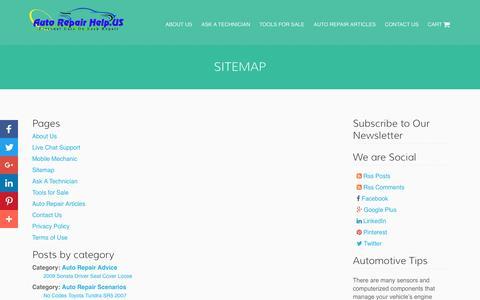 Screenshot of Site Map Page autorepairhelp.us - Sitemap - Auto Repair Help - captured April 12, 2017