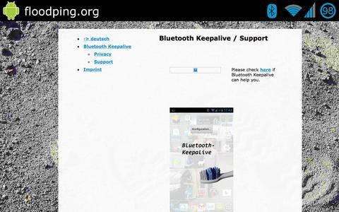Screenshot of Support Page bluetooth-keepalive.com - Bluetooth Keepalive - Support Seite - captured March 1, 2016