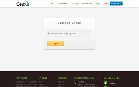 Screenshot of Login Page grexit.com - Customer Support and Sales Management, Right from your Gmail |GrexIt - captured July 21, 2014