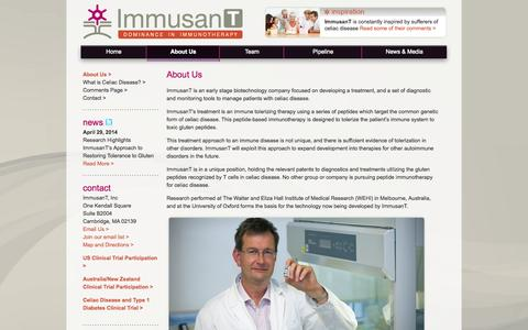 Screenshot of About Page immusant.com - About Us «  ImmusanT - captured Oct. 27, 2014