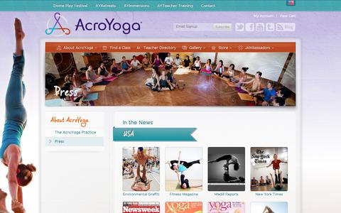Screenshot of Press Page acroyoga.org - About AcroYoga - Press - captured Nov. 4, 2014