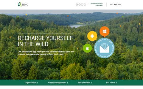 Screenshot of Home Page rmk.ee - RMK - captured Sept. 23, 2014