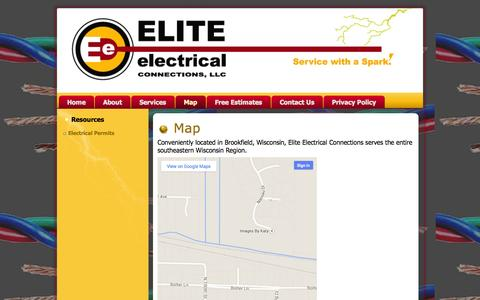 Screenshot of Maps & Directions Page eliteelectricalconnections.com - ELITE ELECTRICAL CONNECTIONS: Map - captured Sept. 29, 2014