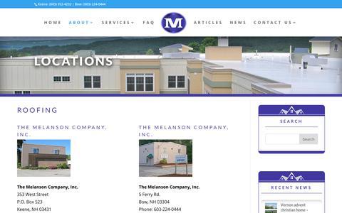 Screenshot of Locations Page melanson.com - The Melanson Company Locations, Commercial and Residential Roofing, Keene, NH, Rutland, VT - captured Oct. 25, 2017