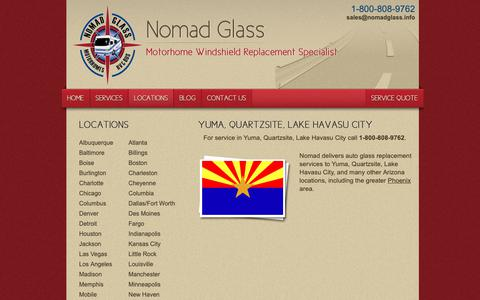 Screenshot of Locations Page nomadglass.com - Motorhome Windshield Replacement | Yuma, Quartzsite, Lake Havasu City, Arizona - captured Sept. 28, 2018
