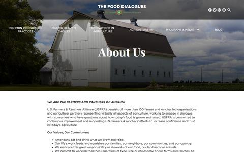 Screenshot of About Page fooddialogues.com - About - Food Dialogues - captured Sept. 29, 2017