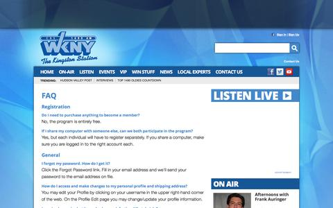 Screenshot of FAQ Page 1490wkny.com - 1490 WKNY –  The Kingston Station – Poughkeepsie News Radio - captured May 24, 2016